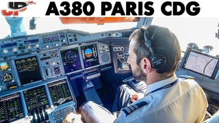 AIRBUS A380 from 43,000 feet to landing at Paris CDG Airport