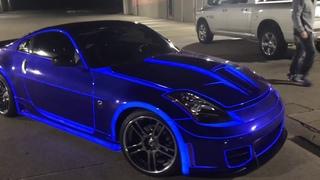 Real life TRON CAR! Nissan 350z lit up with lumilor! electroluminescent