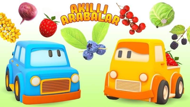 Çizgi film Türkçe Akıllı arabalar ile sebzeleri ve meyveleri öğren Çocuklar için araba oyunu