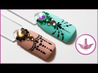 Салонный дизайн ногтей | Красивый маникюр дотсом со стразами