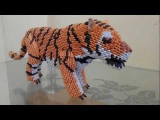 tutorial origami 3D Tiger (harimau indonesia) part 6