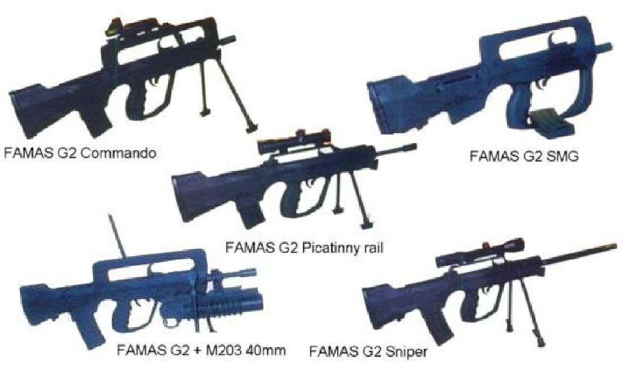 Все варианты FAMAS G2 (с сайта weaponland.ru)