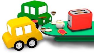Cadê a torradeira? Ajude os 4 carros coloridos! Desenhos animados para crianças