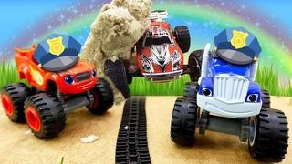 Policiais na cidade dos brinquedos! História infantil com carros Blaze and the Monster Machines